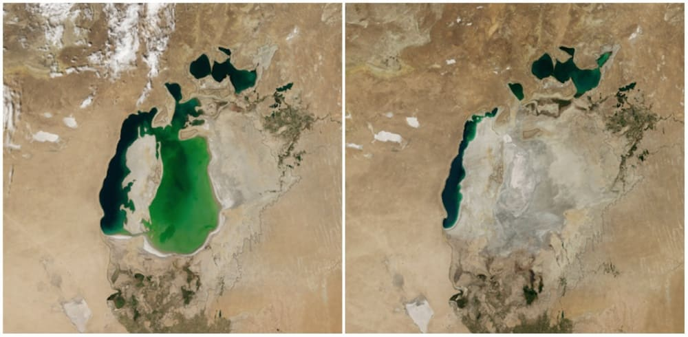 Mer d'Aral, Asie centrale. Août 2000 - Août 2014. - 21 Trends