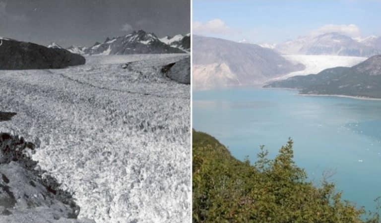 La Terre avant le réchauffement climatique et aujourd'hui.