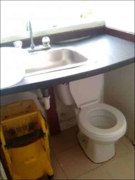 21 Trends - Le pot des toilettes en dessous du lavabo
